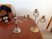 Silver plated candle holder, and gold metal one