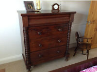 Older style dark wood chest of drawers