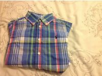 Ralph Lauren pale blue check shirt with pastel check. Age 4