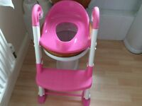 Potty training toilet seat with step