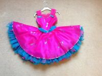 STUNNING CERISE PINK AND ELECTRIC BLUE ROCK AND ROLL/JIVE DRESS AGE 5 to 6 YEARS