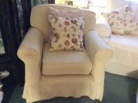 Single armchair with cream cotton colours