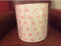 Nursery or kids bedroom 20 cm drum lampshade pink butterflies