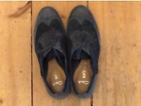 Cool blue suede ladies brogues. Clarks