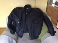 Black Leather Mens Jacket. Size Large