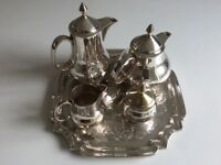 Vintage four piece silver plated tea set with tray