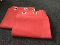 X2 pair of red eyelet fully lined curtains size 66x72