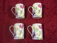 4 BRAND NEW PORTMEIRION MUGS IN THE DELIGHTFUL WATER GARDEN PATTERN