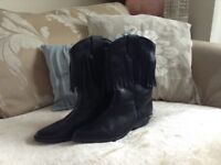 Brand new black leather cowgirl boots size 8