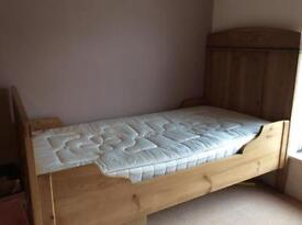 Original Scandinavian old pine single bed dating from the late 1800's Inc mattress £165.00