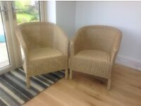 2 natural rattan cane armchairs
