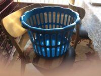 Blue laundry basket