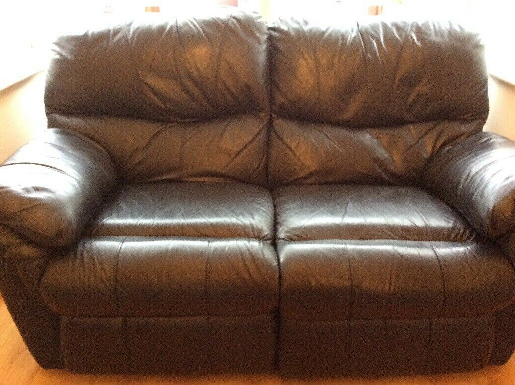 Black Leather 3 & 2 Seater Reclining Sofas