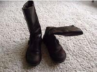 Womens Fly London Size 5 Fly Mes Wedge Calf Boots Dark Brown Rugged Leather