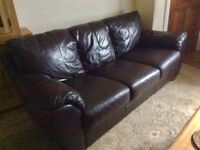 Sofa-Brown Leather-Excellent Condition