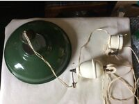Old Green industrial pulley light with original cord, pulley and weight.