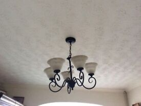 Black Metal 5 Arm Chandeliers