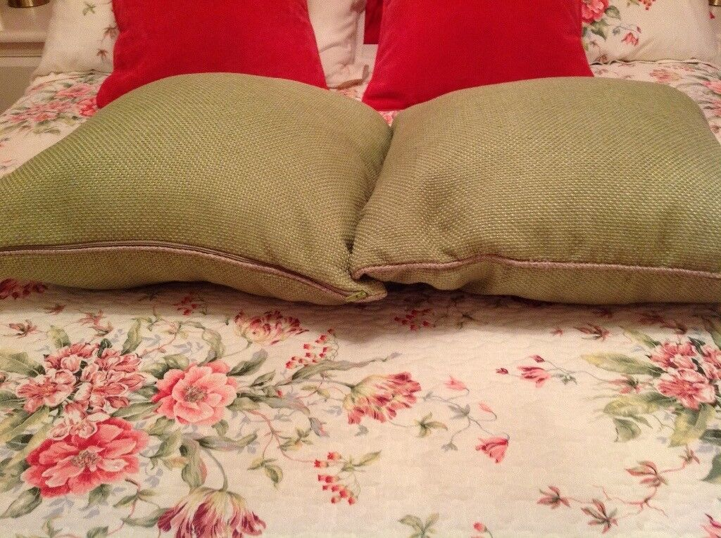 Two Lovely Next Apple Green Cushions