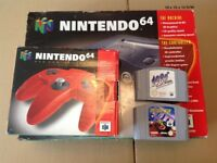 Boxed Nintendo N64 Console 2 Games 1080 Snowboarding, Extreme G and Boxed Red Controller Nintendo 64