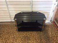 Universal Black Glass 3 Shelf Corner TV Table