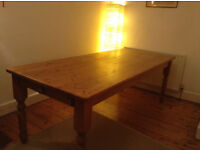Large Solid Pine Dining Table & 6 Hard Wood Chairs