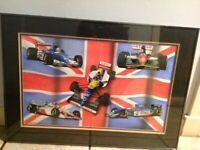 Used, Original painting FLYING THE FLAG by Bob Spry date 1993. Five British F1 drivers for sale  Newbridge, Edinburgh