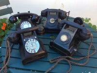 Old vintage black phones.
