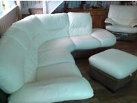 Brown and cream leather corner suite for sale with electric recliner chair and storage pouffe