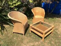 Two Wicker Chairs With Square Wicker Table With Glass Top