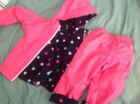 Muddy puddle coat and trousers reversible set 4-5 yrs