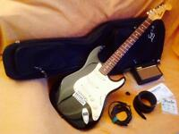 Fender Squier Strat, Vox Amp, Gig Bag & Accessories
