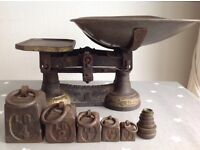 Vintage Cast Iron Kitchen Scales with Imperial Weights