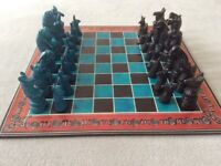 Handcarved Soapstone 32 Animal Figurine Piece Chess Set 14 inch Board.New