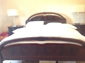 Fabulous Italian polished mahogany bedroom furniture 2 sofas 2 footstools & dining table & chairs