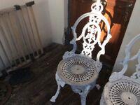 3 cast aluminium garden chairs