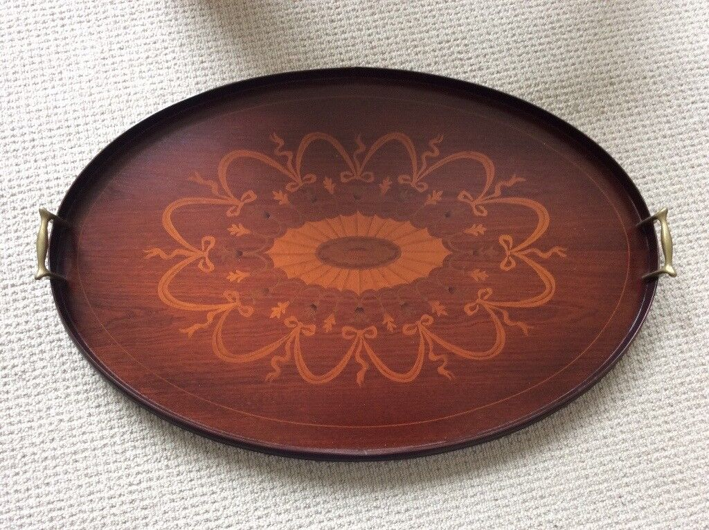 Edwardian Decorative Inlaid Butler Tray with brass handles