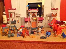 Imaginext Castle, with many accessories including Dragon, Boulder Flinger, and Battering Ram