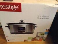 Prestige 46447 Digital Slow Cooker, 5.5 Litre, Silver
