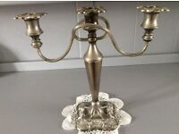 Large Vintage Silver Plated Triple Candle Holder.