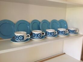 Retro 1970's Staffordshire blue flower cups & saucers