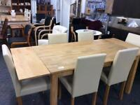 Modern light wood extending Dining table and 6 chairs #43650 £150