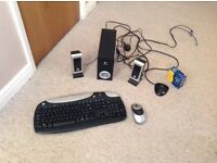 Logitech Wireless Mouse And Keyboard + Speakers.