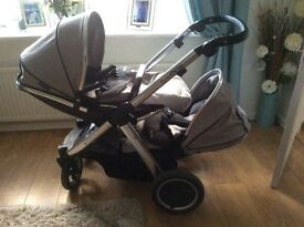 Oyster max twin pram excellent condition hardly used cozy toes head muffs rain cover included