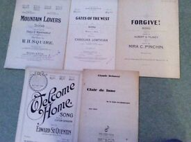 Antique sheet music ranging from 1908 to 1917