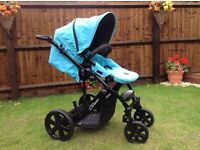 Britax Bsmart3 pushchair in blue and car seat