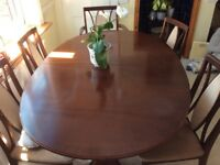OVAL G PLAN DINING TABLE AND SIX CHAIRS.