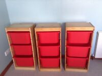 IKEA pine storage units with boxes GC