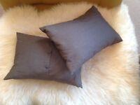 Set of 2 Designer Andrew Martin Decorative Silk Pillows Grey
