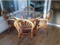 5 Piece cane conservatory dining set