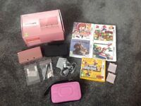 Nintendo 3DS Coral Pink Console Games & Carry Case